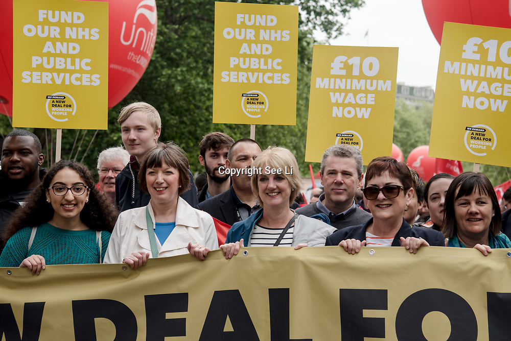 """Frances O'Grady is a General Secretary of the Trades Union Congress join the TUC march in London for """"A new deal for working people"""" on 12 May 2018, London, UK."""