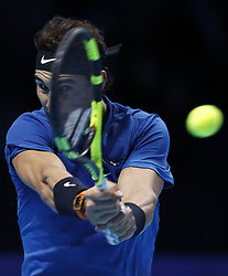 November 13, 2017 - London, England, United Kingdom - Spain's RAFAEL NADAL competes during the singles group match against David Goffin of Belgium during the Nitto ATP World Tour Finals at O2 Arena. Rafael Nadal lost 1-2. (Credit Image: © Han Yan/Xinhua via ZUMA Wire)