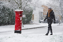 ©  London News Pictures. 14/01/2013. Dunstable, UK. A woman walking through heavy snowfall past a red postbox  in the town of Wheathampstead, Hertfordshire, on January 14, 2013. Photo credit : Ben Cawthra/LNP