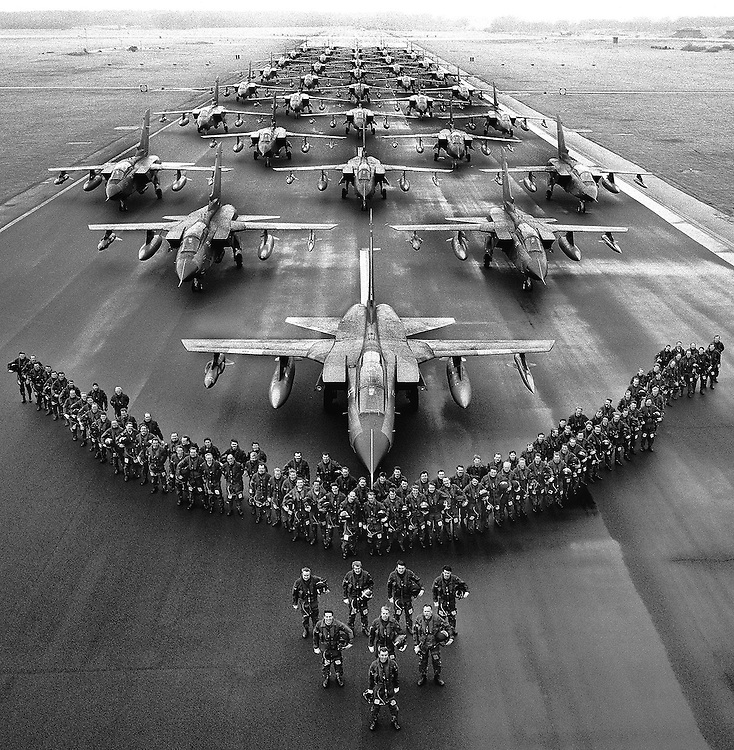 Squadron of British Royal Air Force Tornado aircraft and crews seen at RAF Bruggen in Germany in March 1987. Located near Düsseldorf, the station served as a quick reaction force to the Soviet border to the East. Photographed by Terry Fincher
