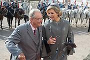 Staatsbezoek Denemarken - Dag 1. Aankomst en Téte-á-tète  op Paleis Fredensborg<br /> <br /> State visit Denmark - Day 1. Arrival and Téte-á-tète  at Palace Fredensborg<br /> <br /> <br /> op de foto / On the photo:  Prins Henrik en Koningin Maxima / Prince Henrik and Queen Maxima