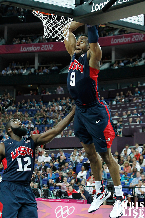 10 August 2012: USA Andre Iguodala dunks the ball during 109-80 Team USA victory over Team Argentina, during the men's basketball semi-finals, at the North Greenwich Arena, in London, Great Britain.