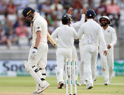 Ben Stokes as he is caught and bowled by Ravi Ashwin during the first Test Match between England and India at Edgbaston, Birmingham. Photo: Graham Morris  / www.photosport.nz