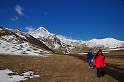 Georgia, Kazbegi (Stepantsminda) on the Georgian military highway Mount Kazbegi in the background