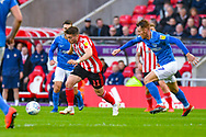 Lynden Gooch of Sunderland (11) in action during the EFL Sky Bet League 1 first leg Play Off match between Sunderland and Portsmouth at the Stadium Of Light, Sunderland, England on 11 May 2019.