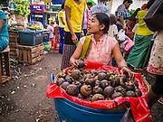 16 JUNE 2013 - YANGON, MYANMAR:  Mangosteen fruit for sale in a market in Yangon. Yangon, formerly Rangoon, is the largest city in Myanmar. It is the former capital of the Southeast Asian country. It's still Myanmar's economic capital.     PHOTO BY JACK KURTZ
