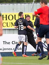Falkirk's Bob McHugh celebrates after scoring their second goal. Falkirk 3 v 1 East Fife, Petrofac Training Cup played 25th July 2015 at The Falkirk Stadium.