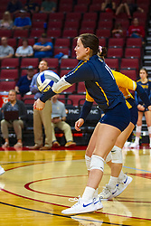 BLOOMINGTON, IL - September 15: Katie Schoessow during a college Women's volleyball match between the ISU Redbirds and the Marquette Golden Eagles on September 15 2019 at Illinois State University in Normal, IL. (Photo by Alan Look)