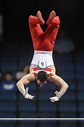 March 2, 2019 - Greensboro, North Carolina, US - JAMES HALL from Great Britain competes on the high bar at the Greensboro Coliseum in Greensboro, North Carolina. (Credit Image: © Amy Sanderson/ZUMA Wire)