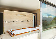modern building, view bathroom with jacuzzi from the terrace