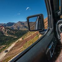 A jeep navigates steep and rocky roads near Ouray, Colorado.