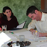 Kristan Curtis ad Brian Chamberlain rehearse for HLS reading of Ethan Frome(L to R)