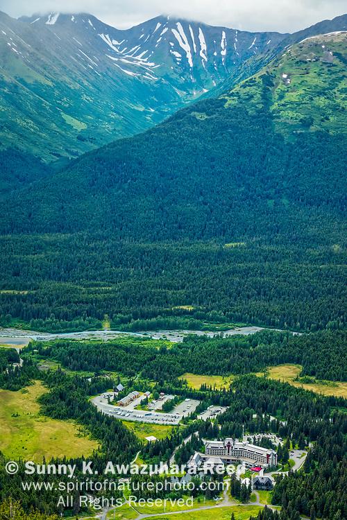 Aerial view of Alyeska Resort Hotel. Bird Ridge of Chugach Mountains in the background. Girdwood, Southcentral Alaska, Summer.
