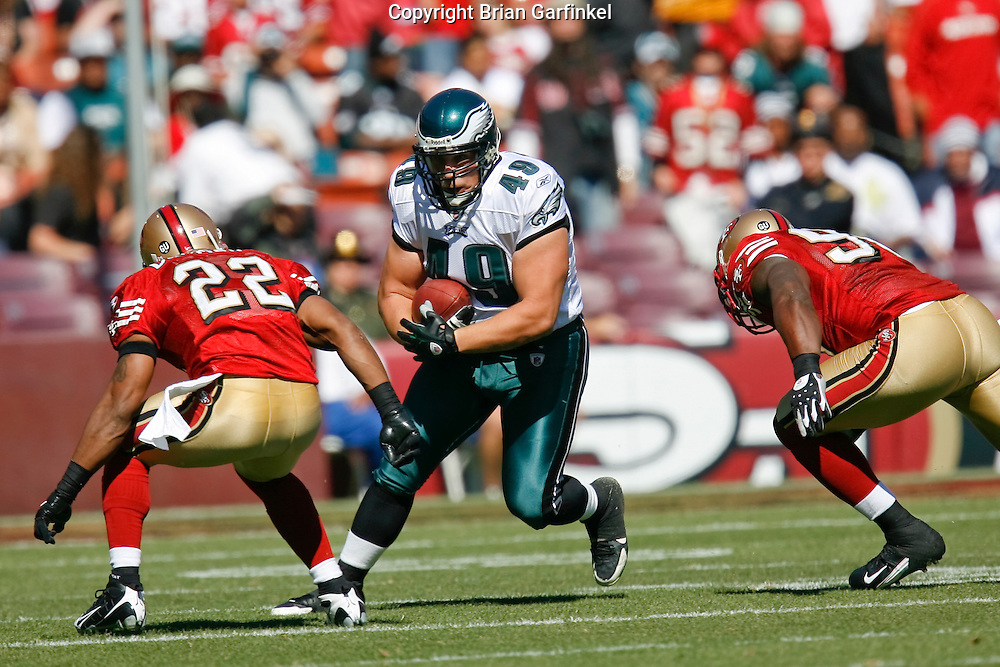 12 Oct 2008: Philadelphia Eagles fullback Dan Klecko #49 runs the ball during the game against the San Francisco 49ers on October 12th, 2008. The Eagles won 40-26 at Candlestick Park in San Francisco, California.