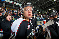 KELOWNA, CANADA - FEBRUARY 10: Jordan Wharrie #12 of the Vancouver Giants stands on the bench against the Kelowna Rockets on February 10, 2017 at Prospera Place in Kelowna, British Columbia, Canada.  (Photo by Marissa Baecker/Shoot the Breeze)  *** Local Caption ***