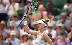 Alison Riske celebrates her win in the round of 16 match against Ashleigh Barty on day seven of the Wimbledon Championships at the All England Lawn Tennis and Croquet Club, London.