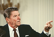 President Reagan Answers a Questionat a press conference in the East Room of the white House .<br />Photo by Dennis Brack. bb77