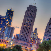 View of downtown Kansas City Missouri from along 10th Street looking west at sunset.