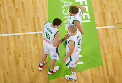 Erazem Lorbek of Slovenia, Edo Muric of Slovenia and Miha Zupan of Slovenia during friendly basketball match between National teams of Slovenia and Montenegro of Adecco Ex-Yu Cup 2011 as part of exhibition games before European Championship Lithuania 2011, on August 7, 2011, in Arena Stozice, Ljubljana, Slovenia. Slovenia defeated Crna Gora 86-79. (Photo by Vid Ponikvar / Sportida)
