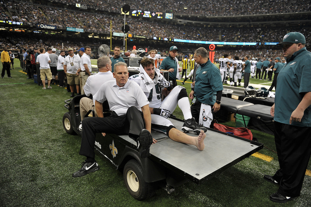NEW ORLEANS, LA - NOVEMBER 05: Todd Herremans #79 of the Philadelphia Eagles is assisted off the field after getting injured during the game against the New Orleans Saints at the Mercedes-Benz Superdome on November 5, 2012 in New Orleans, Louisiana. The Saints won 28-13. (Photo by Drew Hallowell/Philadelphia Eagles/Getty Images) *** Local Caption *** Todd Herremans
