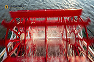 Paddle wheel in motion on the historic steamboat The Natchez in New Orleans, Louisiana, USA