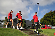 Wales players James Chester (l), Neil Taylor, Joe Allen and Hal Robson-Kanu ® arrive for the Wales football team training at the Vale Resort, Hensol , South Wales on Monday 2nd October 2017, the team are preparing for their FIFA World Cup qualifier away to Georgia this week. pic by Andrew Orchard, Andrew Orchard sports photography