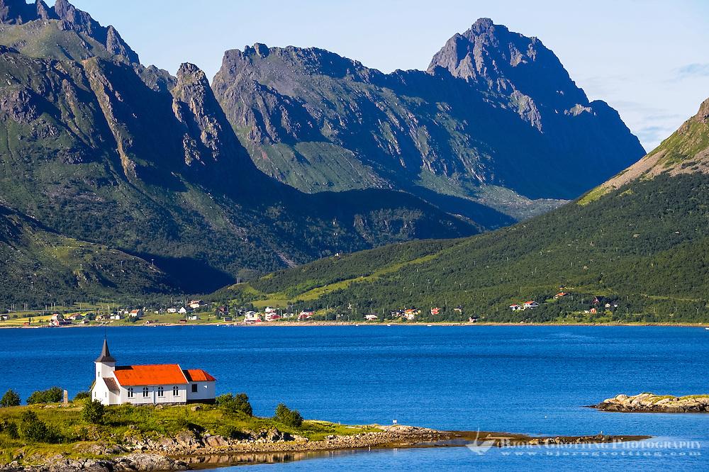 Norway, Lofoten. Sildpollnes Kapell (Chapel) is located at Austnesfjorden north of Svolvær.