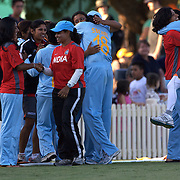 India celebrate victory during the ICC Women's World Cup Cricket play off for third place between Australia and India at Bankstown Oval, Sydney, Australia on March 21, 2009. India beat Australia by three wickets. Photo Tim Clayton