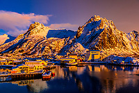 A commercial harbor in Svolvaer, on Austvagoya Island, Lofoten Islands, Arctic, Northern Norway.