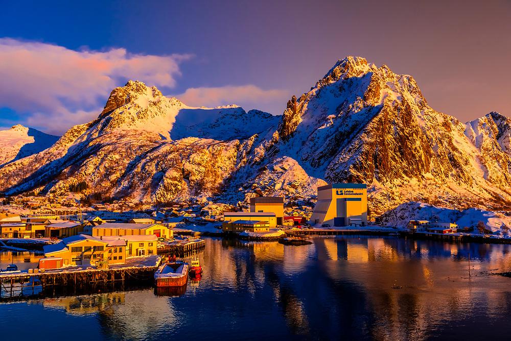 A commercial harbor in Svolvaer, on Austvagoya Island, Lofoten Islands, Arctic, Northern Norway.