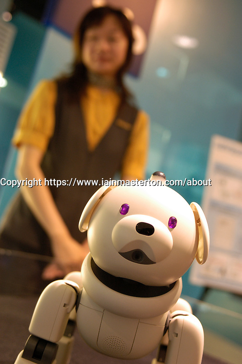 Advanced toy robot dog on display at Sony showroom in Ginza Tokyo