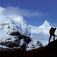 Mountaineers stand below the highest peaks of Chile's previously unexplored Cordillera Sarmiento at the tip of Patagonia's southern icecap (Hielo Sur.)