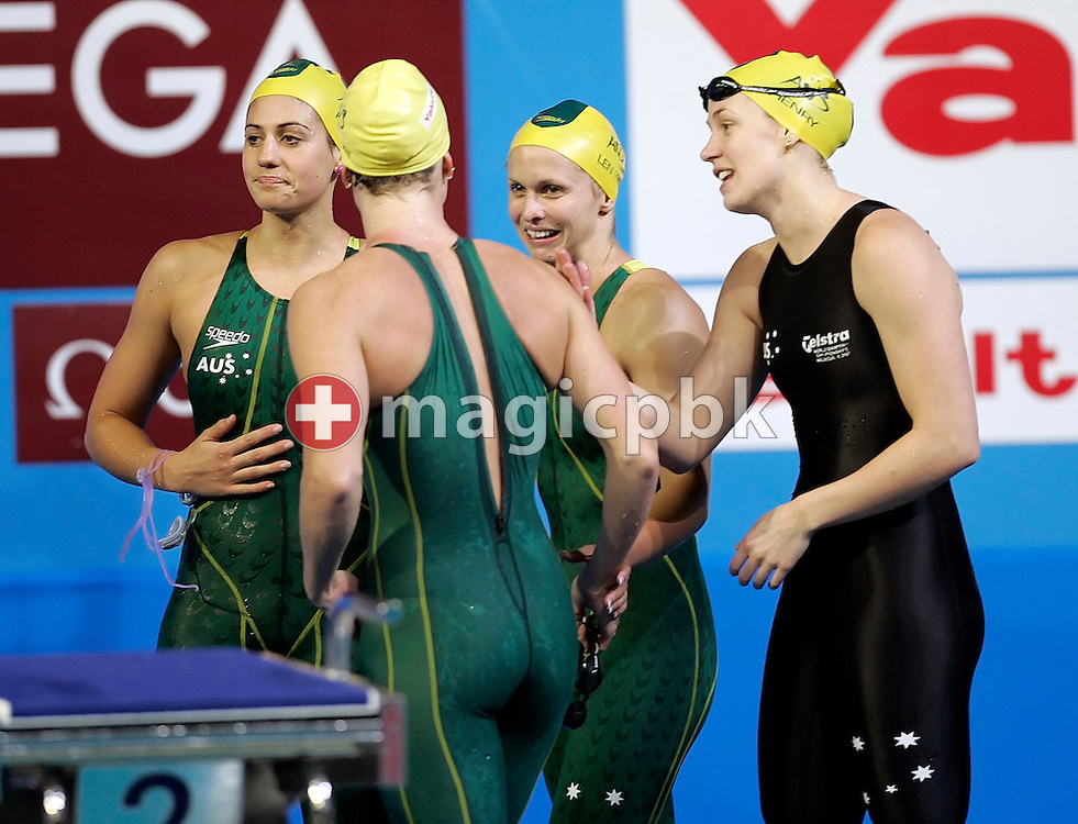 (L-R) Stephanie RICE, Lara DAVENPORT, Lisbeth (Libby) LENTON and Jodie HENRY of Australia walk out after competing in the women's 4x200m Freestyle relay final in the Susie O'Neill pool at the FINA Swimming World Championships in Melbourne, Australia, Thursday 29 March 2007. (Photo by Patrick B. Kraemer / MAGICPBK)