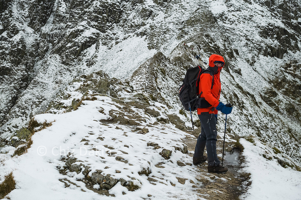 The easier sections of Striding Edge are little more than a walk along a narrowish ridge