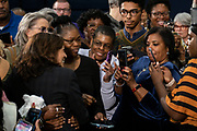 Senator Kamala Harris poses for selfies with supporters following a town hall meeting during her campaign for the Democratic presidential nomination February 15, 2019 in North Charleston, South Carolina. South Carolina is the first southern democratic primary for the presidential race.
