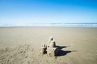 Sand castle at beach.