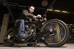 Mannaia Cycles of Italy won 6th place in the big Freestyle Class for their Flying Marla Harley-Davidson Panhead in the AMD World Championship of Custom Bike Building in the Intermot Customized hall during the Intermot International Motorcycle Fair. Cologne, Germany. Sunday October 7, 2018. Photography ©2018 Michael Lichter.