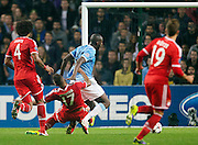 02.10.2013 Manchester, England.  Bayern Munich's Jerrome Boateng brings down Man City's Yaya Toure and is sent off during the Group D UEFA Champions League game between, Manchester City and Bayern Munich from the Etihad Stadium.