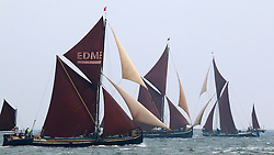 © Licensed to London News Pictures. 28/05/2016. Classic sailing barges which once plied their trade on the River Thames have taken part in the annual Medway Sailing Barge Match. Barge matches take place throughout the spring and summer months using historic vessels, some of which date back over 100 years. Credit: Rob Powell/LNP