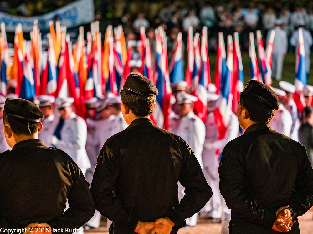 05 DECEMBER 2015 - BANGKOK, THAILAND: Thai military personnel on the King's Birthday on Sanam Luang in Bangkok. Thais marked the 88th birthday of Bhumibol Adulyadej, the King of Thailand,  Saturday. The King was born on December 5, 1927, in Cambridge, Massachusetts. The family was in the United States because his father, Prince Mahidol, was studying Public Health at Harvard University. He has reigned since 1946 and is the world's currently the longest serving monarch in the world and the longest serving monarch in Thai history. Bhumibol, who is in poor health, is revered by the Thai people. His birthday is a national holiday and is also celebrated as Father's Day. He is currently hospitalized in Siriraj Hospital, recovering from a series of health setbacks.    PHOTO BY JACK KURTZ