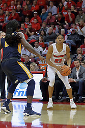 09 December 2017:  William Tinsley considers a 3 point attempt during a College mens basketball game between the Murray State Racers and Illinois State Redbirds in  Redbird Arena, Normal IL