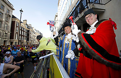 The Right Worshipful Lord Mayor of Westminster Councillor Lindsey Hall (left) and Alderman and Sherriff Vincent Keavney of the City of London during the 2019 London Landmarks Half Marathon.
