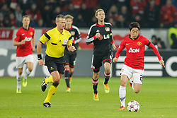 27.11.2013, BayArena, Leverkusen, GER, UEFA CL, Bayer Leverkusen vs Manchester United, Gruppe A, im Bild Shinji Kagawa #26 (Manchester United) im Alleingang auf das gegnerische Tor Aktion, Action // during UEFA Champions League group A match between Bayer Leverkusen vs Manchester United at the BayArena in Leverkusen, Germany on 2013/11/28. EXPA Pictures © 2013, PhotoCredit: EXPA/ Eibner-Pressefoto/ Grimme<br /> <br /> *****ATTENTION - OUT of GER*****