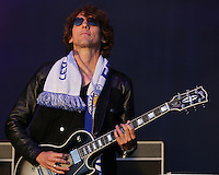 Kasabian guitarist Jay Mehler performing at the Leicester City Victory Parade celebration at Victoria Park<br /> <br /> Photographer Rachel Holborn/CameraSport<br /> <br /> Football - Barclays Premiership - Leicester City Victory Parade - Monday 16th May 2016 - Victoria Park - Leicester<br /> <br /> © CameraSport - 43 Linden Ave. Countesthorpe. Leicester. England. LE8 5PG - Tel: +44 (0) 116 277 4147 - admin@camerasport.com - www.camerasport.com
