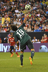 July 25, 2018 - Philadelphia, PA, U.S. - PHILADELPHIA, PA - JULY 25:  Juventus goal keeper Mattia Perin (19) throws the ball during a International Champions Cup match between Juventus and FC Bayern Munich on July 25,2018, at Lincoln Financial Field in Philadelphia,PA. Juventus won 2-0. (Photo by Andy Lewis/Icon Sportswire) (Credit Image: © Andy Lewis/Icon SMI via ZUMA Press)