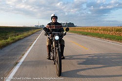 Dean Bordigioni with his single-cylinder single-speed 1914 Harley-Davidson on the Motorcycle Cannonball coast to coast vintage run. Stage 7 (274 miles) from Cedar Rapids to Spirit Lake, IA. Friday September 14, 2018. Photography ©2018 Michael Lichter.