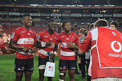 070418 Emirates Airlines Park, Ellis Park, Johannesburg, South Africa. Super Rugby. Lions vs Stormers. Hacjivah Dayimani, Madosh Tambwe and Sylvian pose for a photographer after their winning game against the Stormers.<br />Picture: Karen Sandison/African News Agency (ANA)