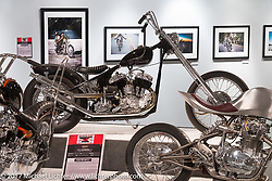 Pangea Speed's Andy Carter's 1943 ULH 80 inch Harley-Davidson Flathead in the Old Iron - Young Blood exhibition in the Motorcycles as Art gallery at the Buffalo Chip during the annual Sturgis Black Hills Motorcycle Rally. Sturgis, SD, USA. Wednesday August 9, 2017. Photography ©2017 Michael Lichter.