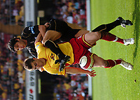 Photo: Tony Oudot.<br />Watford v Portsmouth. The Barclays Premiership. 09/04/2007.<br />Tamas Priskin of Watford is challenged by Dejan Stefanovic of Portsmouth