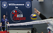 Volleyball: 1. Bundesliga, SVG Lueneburg - VSG Coburg / Grub, Lueneburg, 10.02.2016<br /> Schiedsrichter, Schiedsrichterin, Illustration<br /> © Torsten Helmke